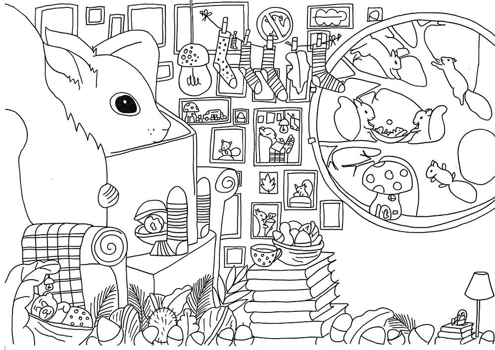 Kinderbuchillustration Eichhörnchen Pepe in seiner Höhle- Ausmalbild