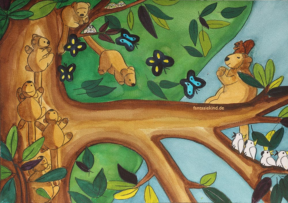 Kinderbuchillustration Baumkängurus fantasiekind