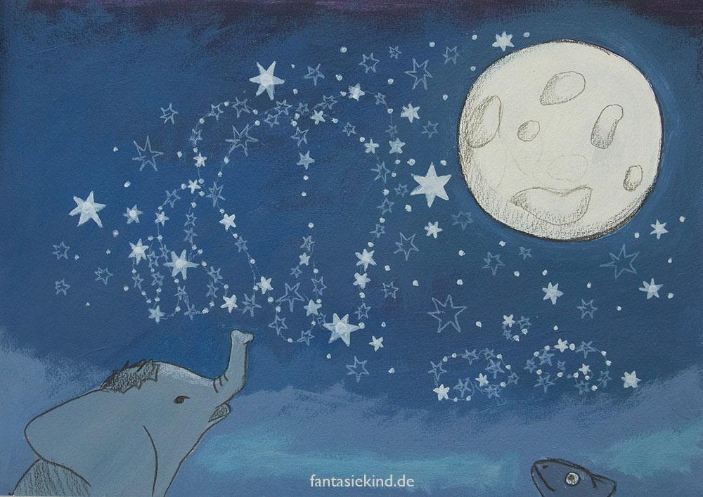 Kinderbuchillustration Nacht fantasiekind